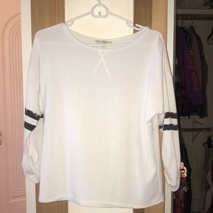 "white jessica simpson ""the warmup"" sweater."